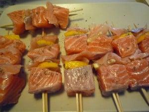 Zalmspiesjes op de BBQ