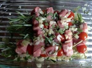 Rozemarijnspiesjes van tomaat en kalfsvlees